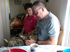 Our lovely hosts Trudi and Derek with their friendly cat