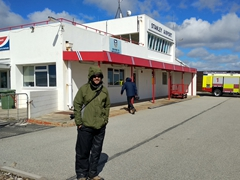 Robby at the minuscule Stanley Airport