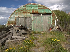 Abandoned quonset hut; Stanley