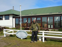 Robby at the entrance to our home for 4 days - Sea Lion Lodge