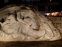 One of several massive stone carvings in Aguas Calientes