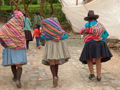 Indigenous women wearing traditional Andean clothing