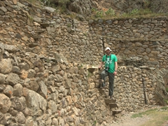 John trying out the terrace stairs of the ancient fortress at Ollantaytambo