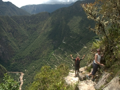 John and Anna cheer on the easy hike down Huayna Picchu