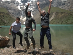 Raul, John and Robby jumping at Humantay Lake