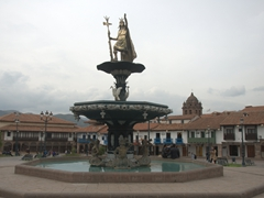 Statue of Inca King Pachacuti on top of the fountain at Cusco's main square