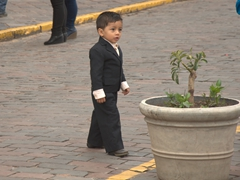 Not to be outdone, this little boy is wearing a smart suit!
