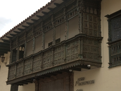 Intricate wooden balcony