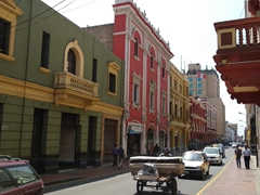 Colorful buildings in the historical district of Lima