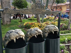 Lion inspired public trash bins in Ollantaytambo