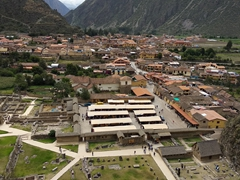 View of Ollantaytambo from the ancient fortress