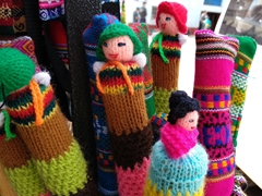 Hand knitted hiking pole decorations; Mollepata