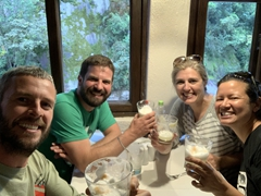 Since the hotel rep wasn't at the train station to pick us up and it is raining hard, we stop to enjoy pisco sours - so tasty!