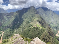 Panorama of the gorgeous vista at the top of Huayna Picchu mountain