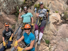 All geared up to climb the Via Ferrata in the Sacred Valley