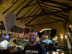 Robby inside Cicciolina bodega tapas restaurant; Cusco