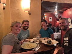 Enjoying a fabulous Thanksgiving dinner with Anna and John in Cusco
