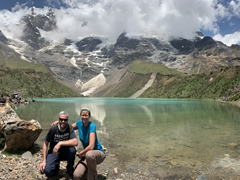 Posing at Humantay Lake, a fabulous day trip from Cusco