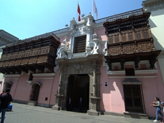Exterior of Torre Tagle Palace, a Spanish Baroque palace and best surviving colonial house in Lima