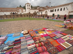Colorful textiles for sale at the Chinchero market