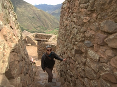 Becky exploring the beautiful Inca ruins of Pisac