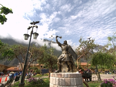 Statue in the main square of Ollantaytambo