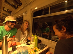 Laughing on the 2 hour train ride to Aguas Calientes