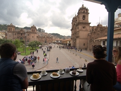 Breakfast with a view at Cafe Plaza; Cusco