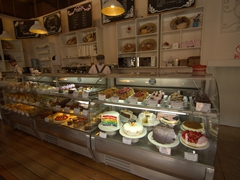 A massive selection of pastries on display at La Valeriana cafe