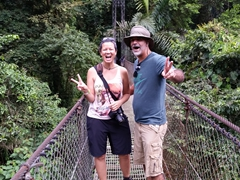 BC and Francisco on one of the hanging bridges of Mistico