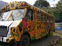 Awesome paint job on this school bus converted to a mobile home; near La Fortuna waterfall