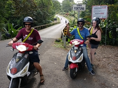 Our 50 cc bikes can barely do the job but we manage to drive around Arenal Volcano