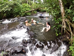 Enjoying a soak at the free hotspring (near Tabacon Resort)