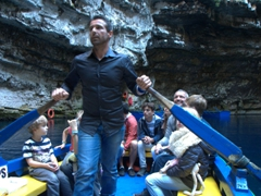 Our friendly boat rower; Melissani Lake