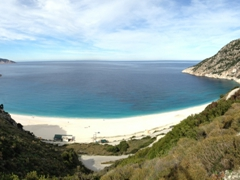 "Panoramic view of Myrtos Beach, scene of the Turkish mine explosion from ""Captain Corelli's Mandolin"""