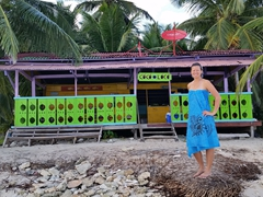 "Becky in front of colorful ""Coco Loco""; Ina Island"