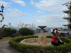 Small park in Casco Viejo offering panoramic views of Panama City's skyline
