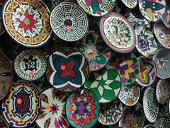 Colorful hand woven bowls made by the Embera Indians