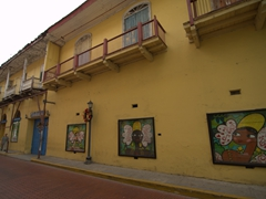 Vibrant open air art gallery in Casco Viejo