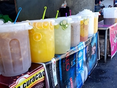 Refreshing drinks for sale; San Salvador open air market