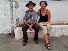 Becky befriending a local; Suchitoto