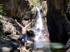 Robby enjoying his private waterfall at Tamanique