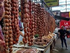 Sausages on display at the market; Santa Ana