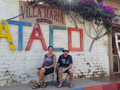 Taking our photo in quaint Ataco