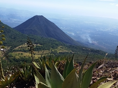 View of Izalco Volcano on our hike up to the top of Santa Ana Volcano
