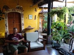 Robby in the courtyard of our boutique hotel, Casa de la Abuela