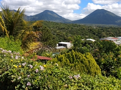 View of volcanoes from our comfortable hotel in Juayua