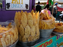 Fried snacks for sale at Juayua's food festival (every weekend)
