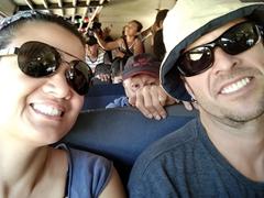 Riding a cramped chicken bus from Juayua to Conception de Ataco