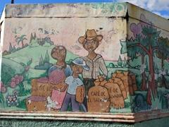 Salvadoran coffee mural; Ataco